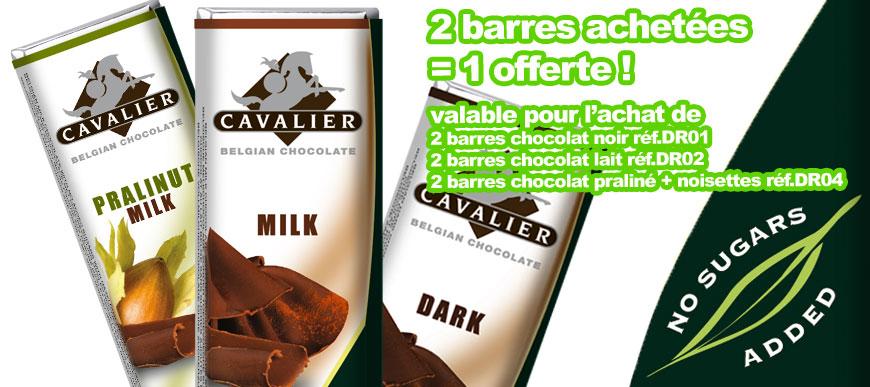 2 barres chocolat achetées = 1 offerte !